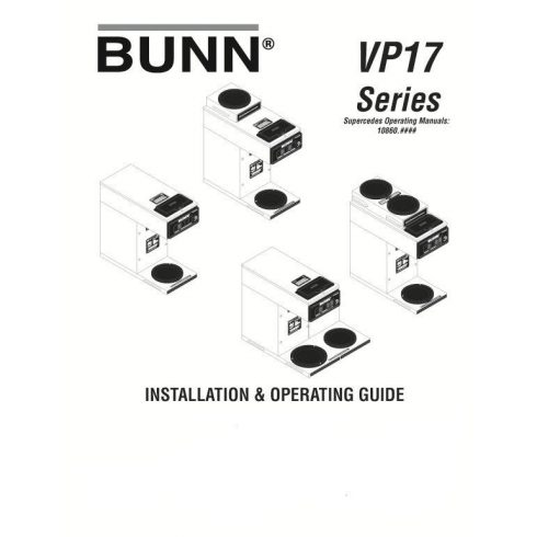 BUNN VP17 Üzembehelyezés és Működtetés